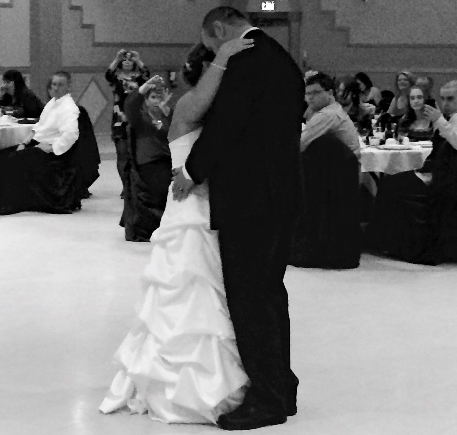 Bride and groom in black and white